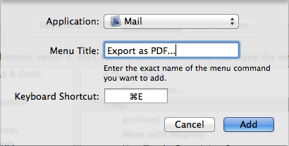 Add a shortcut to mail