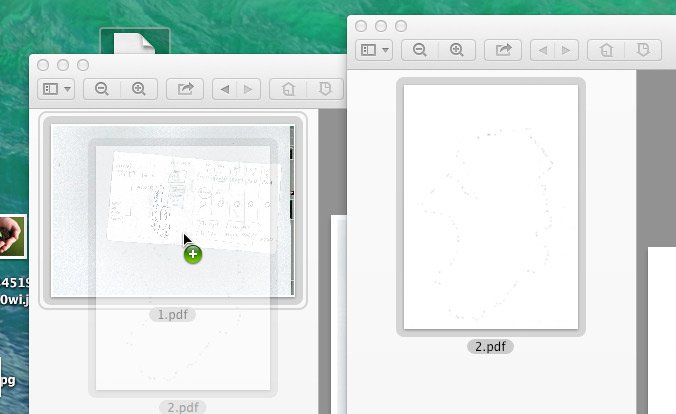 Dropping the new pdf right inside the existing pdf - note the green plus sign and the double grey border.