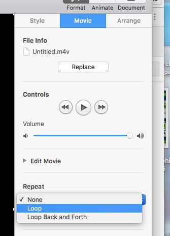 How to loop slides within a keynote presentation - Macintosh
