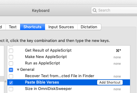 add shortcut key