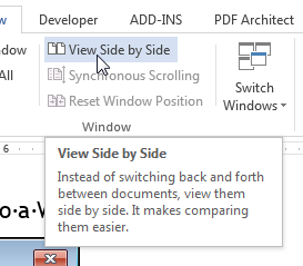 how do you view two word documents side by side on a mac